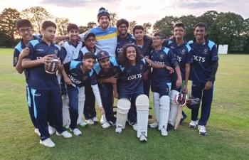 U16 Team win celebration in UK